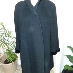 Ann Klein II black wool coat with faux fur trim.